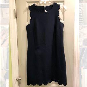 JCREW Navy Blue Scallop Hem Dress - Adorable!